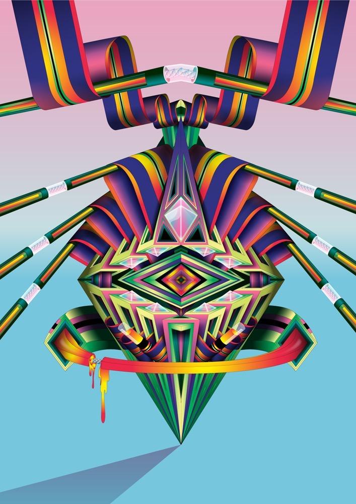 Vector Surrealistic Futuristic Fantastic symetric geometric diamant