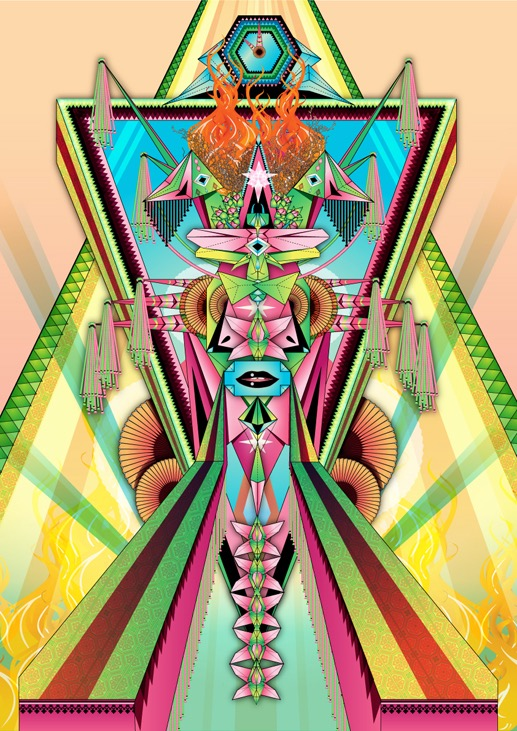 abstract fantastic psychedelic vector divinity god japanese geometric surrealistic mouth lips clock origami japanese transformation symmetric fan