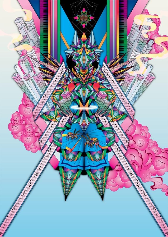 Vector Surrealistic Futuristic Fantastic god godess divinity geometric origami japanese geisha music
