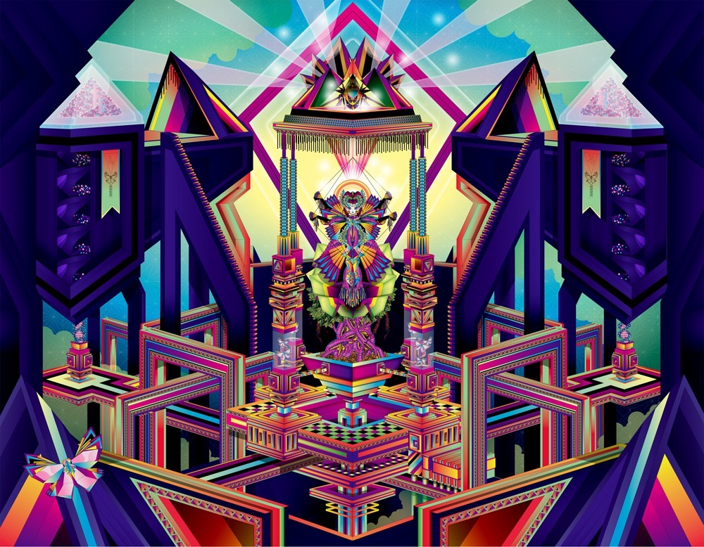 Vector Surrealistic Futuristic Fantastic god godess divinity geometric origami japanese geometric architecture butterfly temple