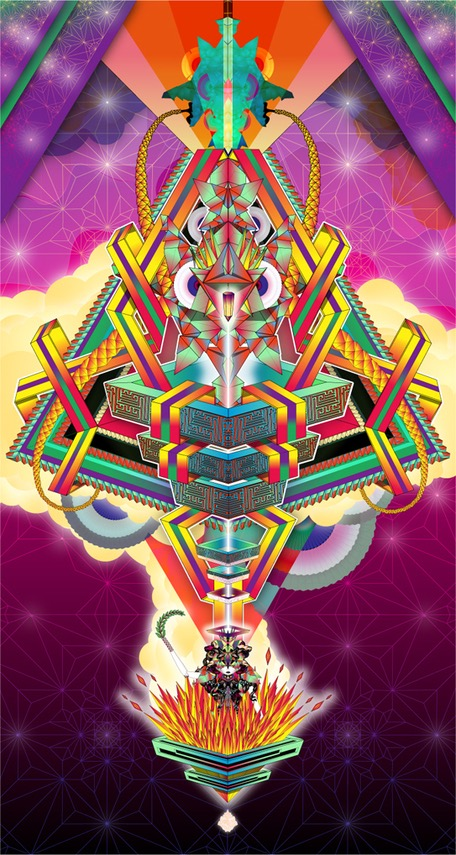 abstract fantastic psychedelic vector divinity god japanese geometric surrealistic origami japanese transformation doll lamp snake diamant symmetric god godess divinity
