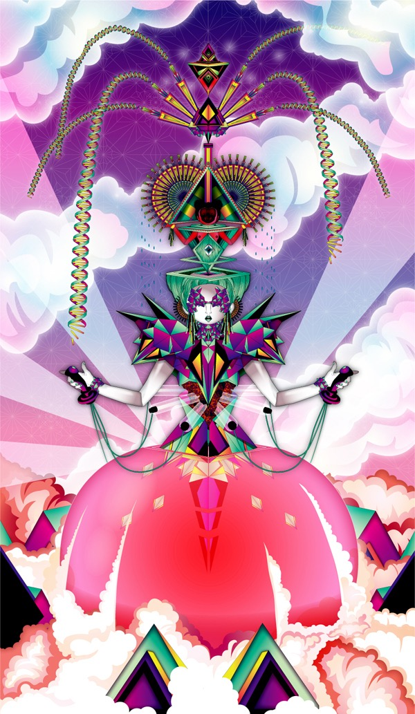 Vector Surrealistic Futuristic Fantastic god goddess divinity geisha clouds origami japanese