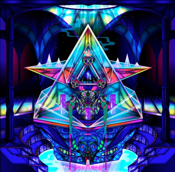 Vector Surrealistic Futuristic Fantastic robot architecture abstract architecture temple diamant pyramide water fountain