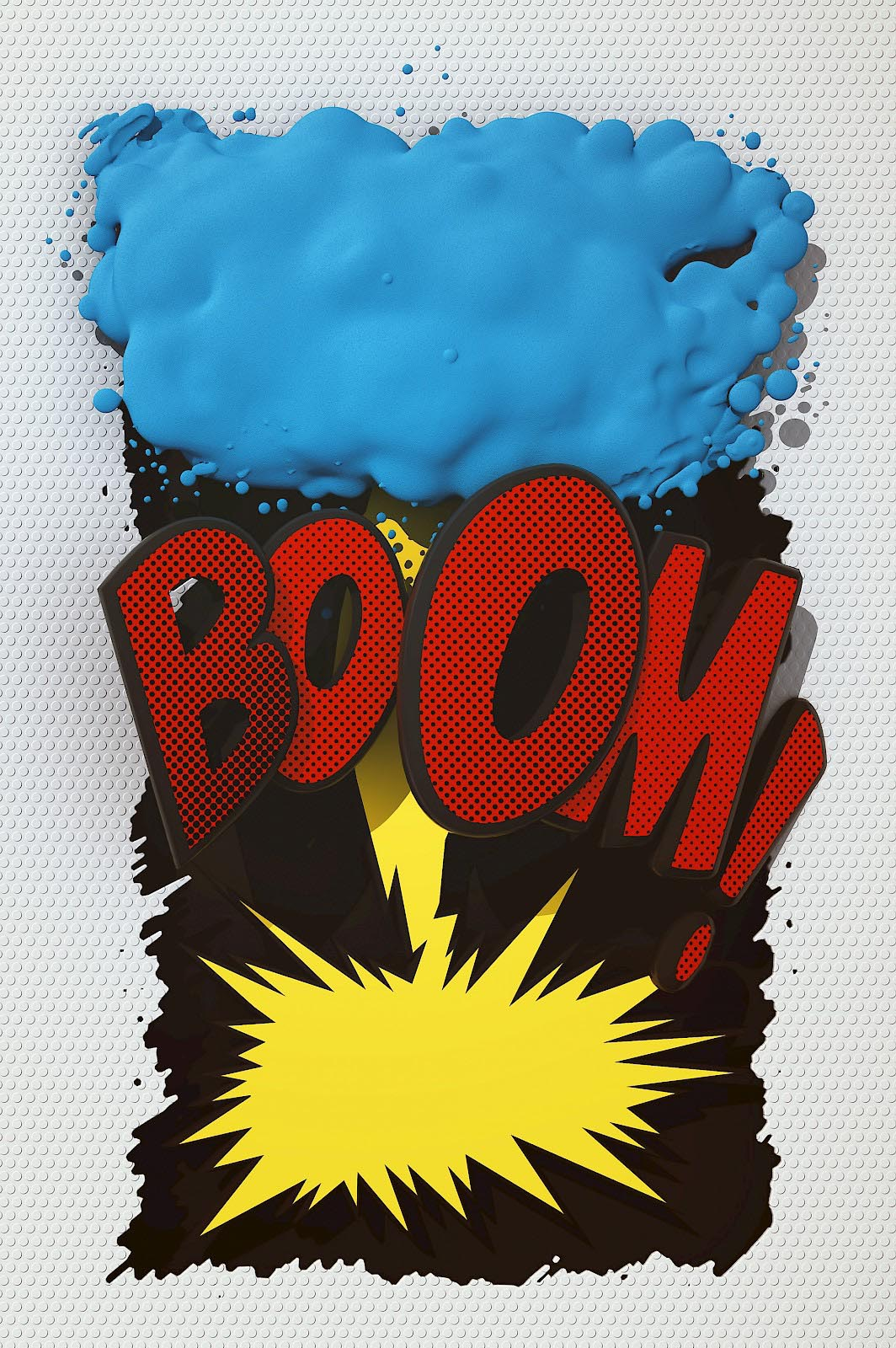 Onomatopoeia Boom comic cartoon typo typography font slang 3D flash