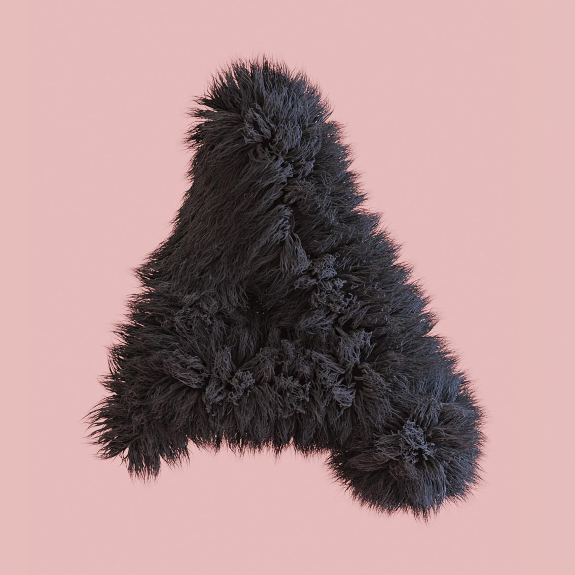 letter A fluff fluffy 3D hairy snyder Alphabet 3D Surrealistic
