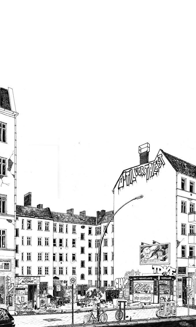"""Ink """"Hand drawing"""" realistic """"black and white"""" detailed Berlin Warschauer"""