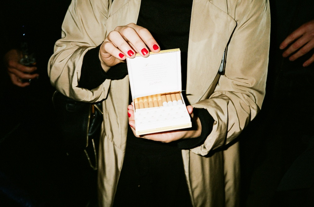 photo photos photography photographer photographers nails nailpolish red trench coat night flash dark cigarettes cigarette box hand hands