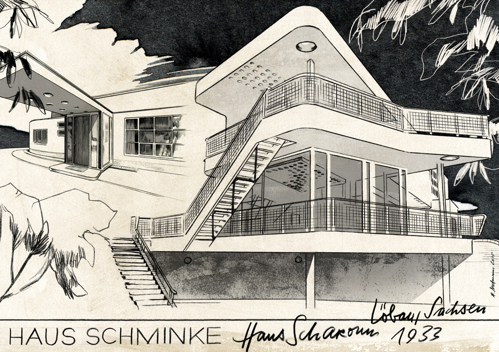 illustration illustrator building house schminke 1933 löbau sachsen