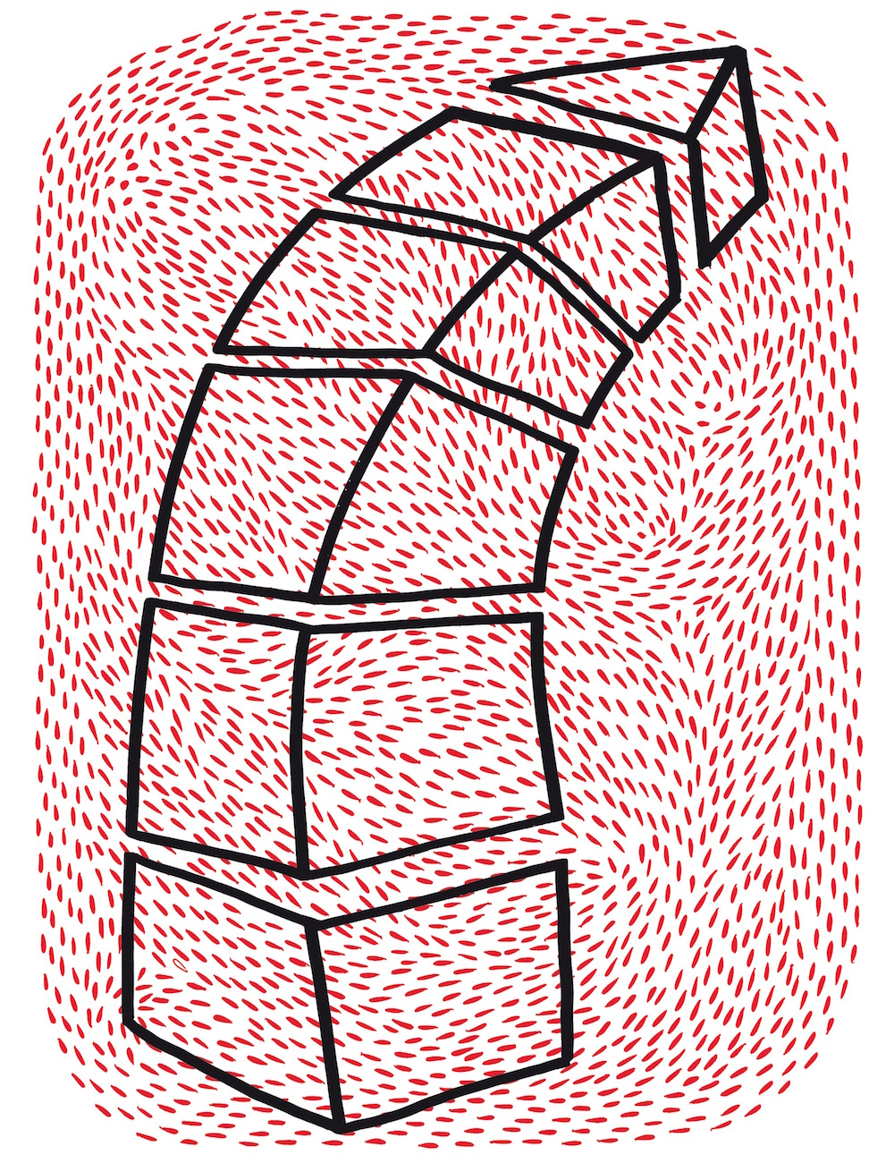 illustration, illustrations, illustrator, illustrators, stack, cubes, lean, leaning, strokes