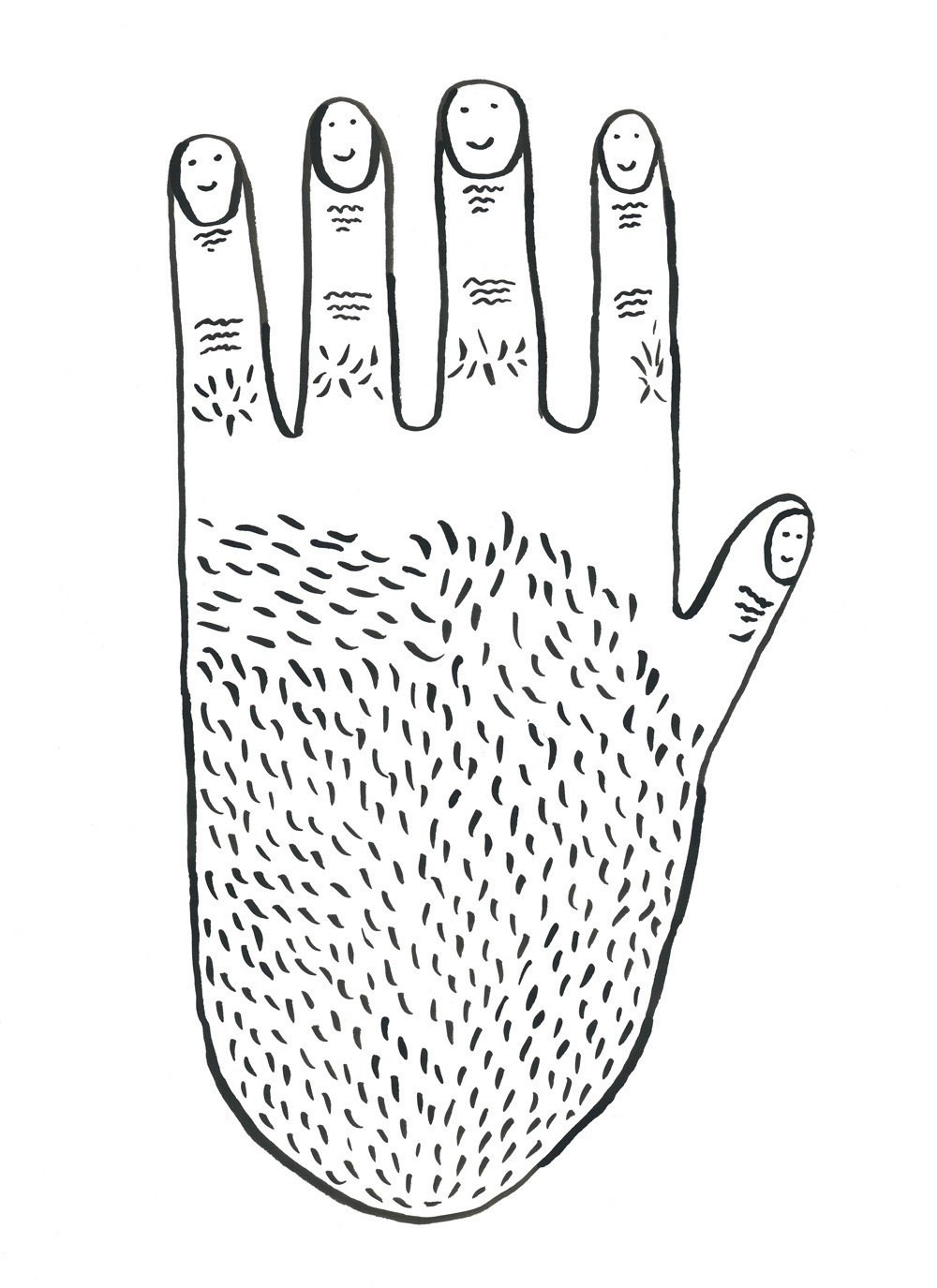 illustration, illustrations, illustrator, illustrators, hand, hands, face, faces, smile, smiles, smiling, happy, knuckles, hair, strokes