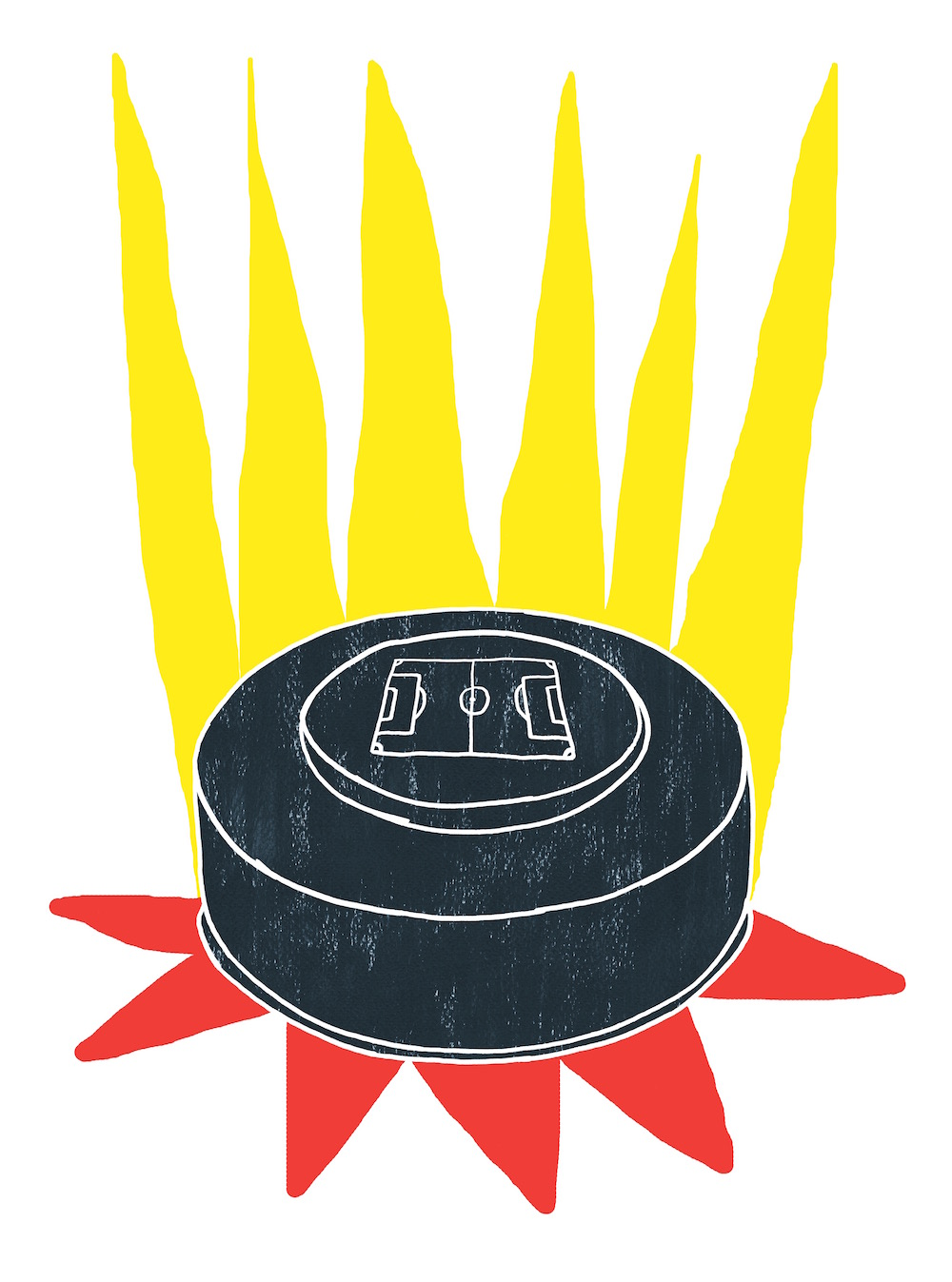 illustration, illustrations, illustrator, illustrators, radiate, radiation, puck, button, game, play