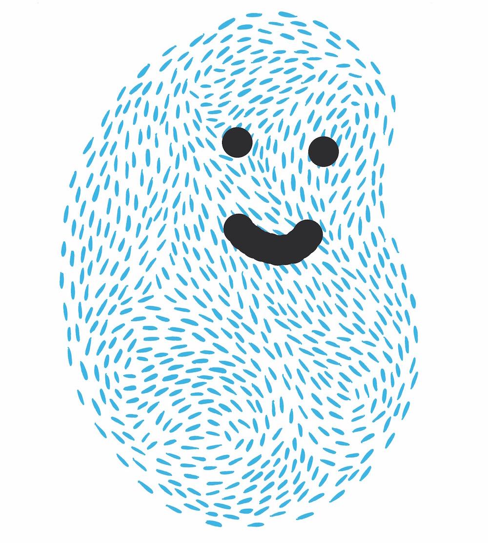 illustration, illustrations, illustrator, illustrators, print, thumbprint, thumb, smile, smiling, happy, lines, line
