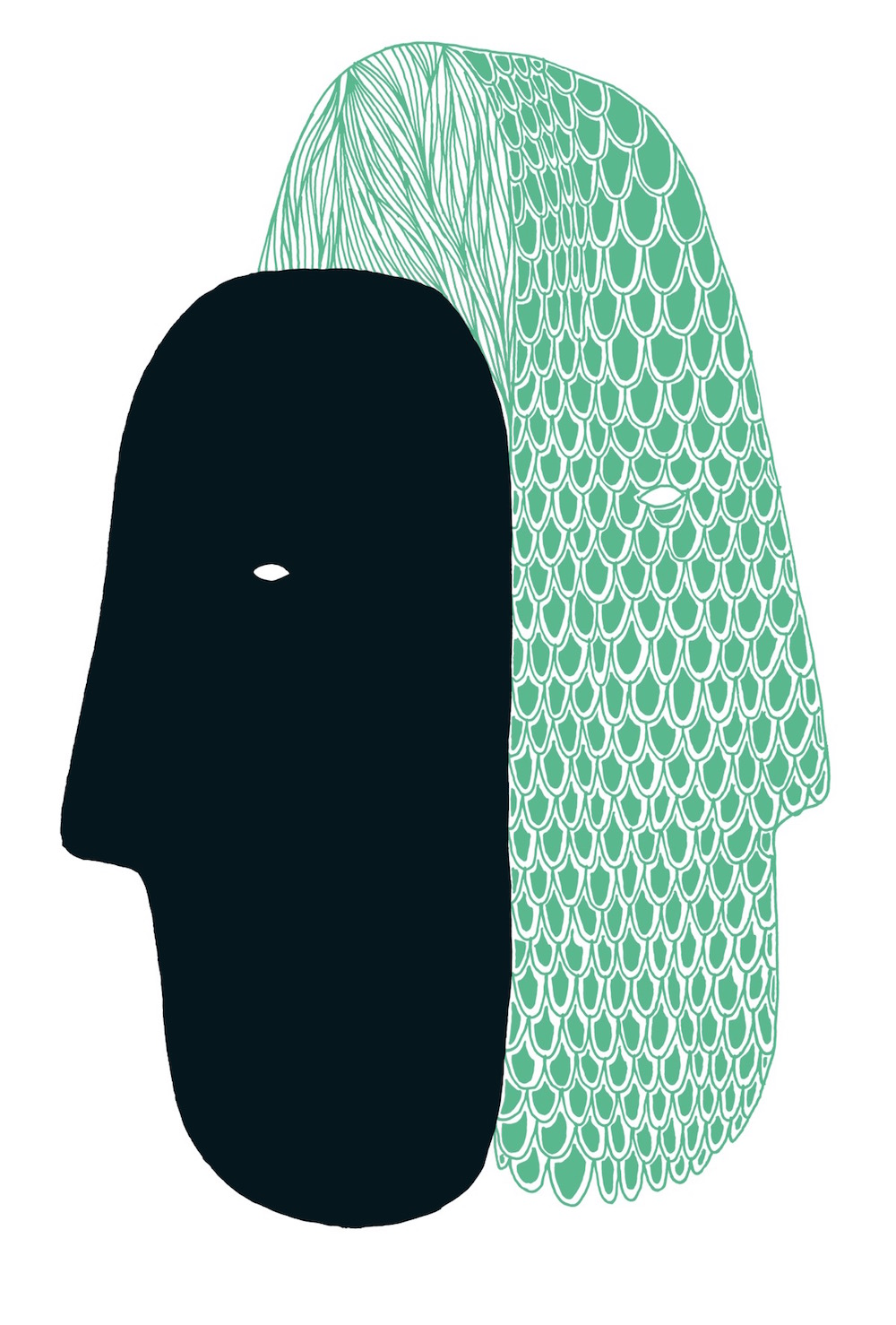 illustration, illustrations, illustrator, illustrators, scale, scales, hair, hairs, double, duplicity, mask, masks, turquoise