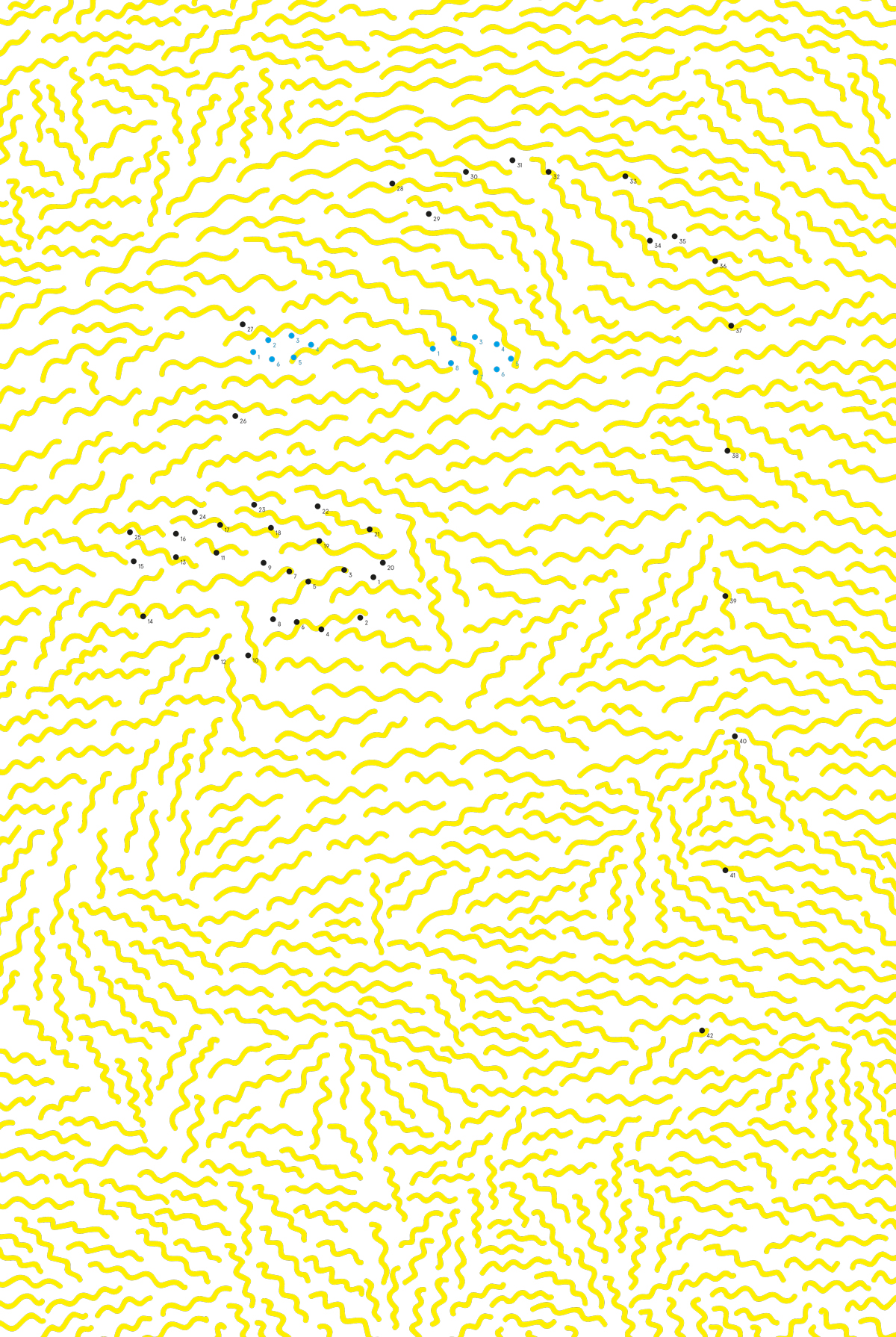 illustration, illustrations, illustrator, illustrators, pattern, squiggle, squiggles, organic, yellow, dots, stipple, stippling