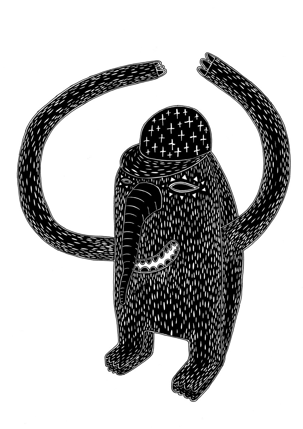 illustration, illustrations, illustrator, illustrators, creature, happy, smile, smiles, teeth, smiling, cap, caps, hat, hats, handsup, lines, texture, cross, crosses