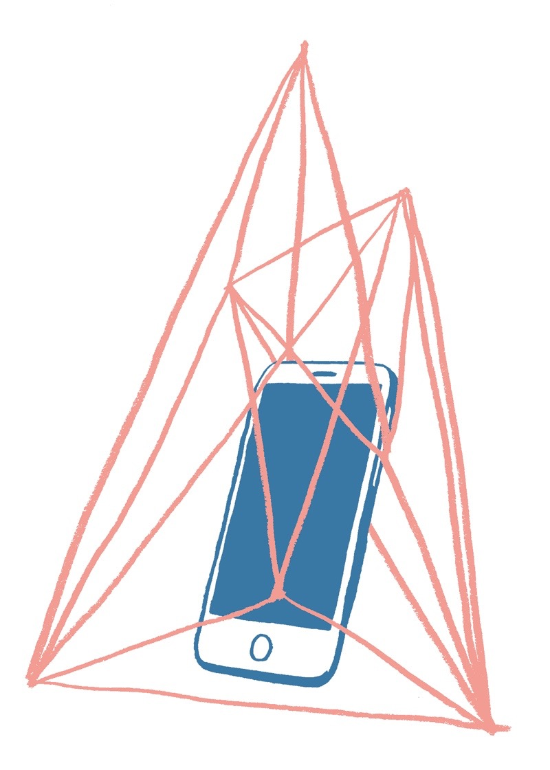 illustration, illustrations, illustrator, illustrators, triangle, triangles, geometry, cage, iphone, phone, technology, cell, handy, cellphone, captive, lines