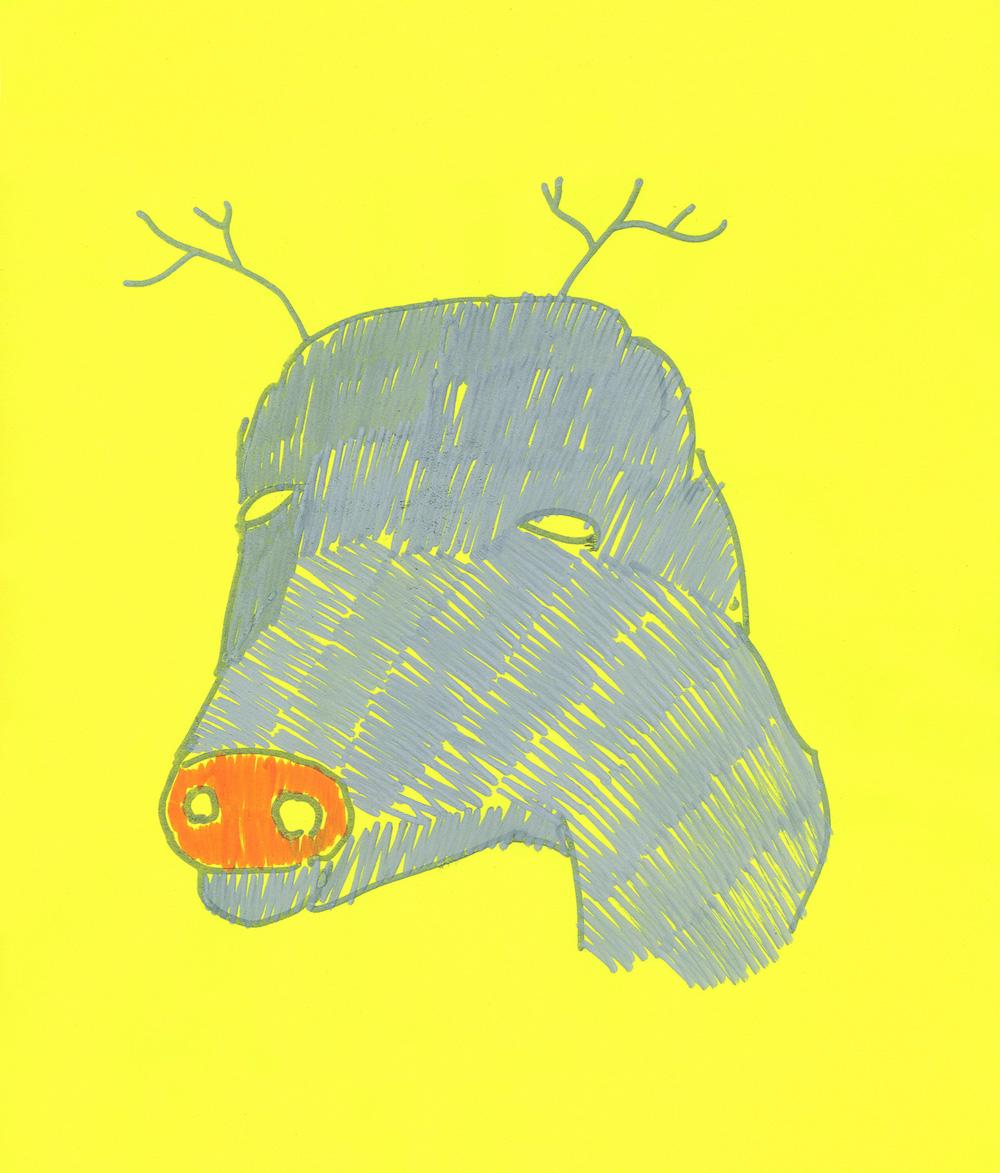 illustration, illustrations, illustrator, illustrators, deer, deers, antler, antlers, head, floating