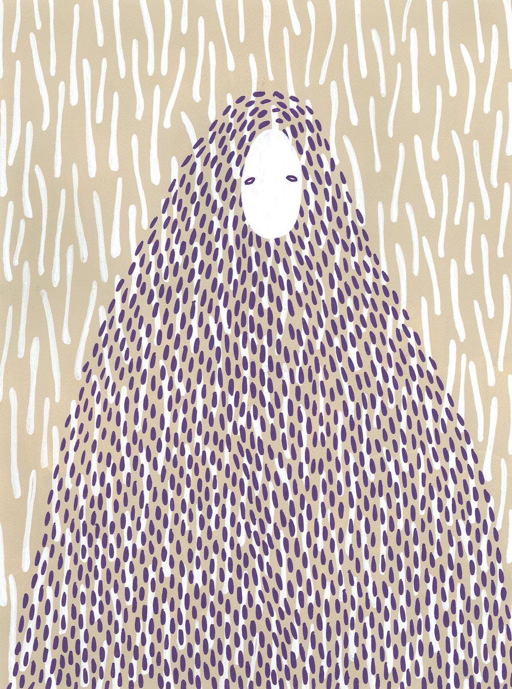 illustration, illustrations, illustrator, illustrators, cloak, cloaks, eyes, eye, lines, oval, droplet, droplets, grain, grains, beige, tan, sad