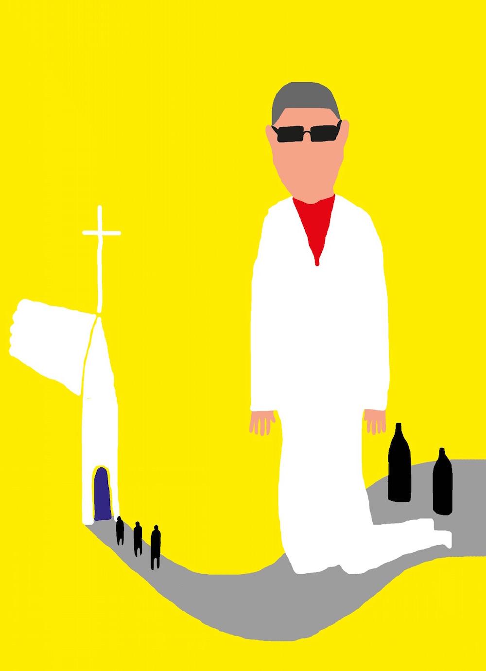 illustration, illustrations, illustrator, illustrators, church, religion, cross, crosses, bottle, bottles, sunglasses, man, men, road, roads