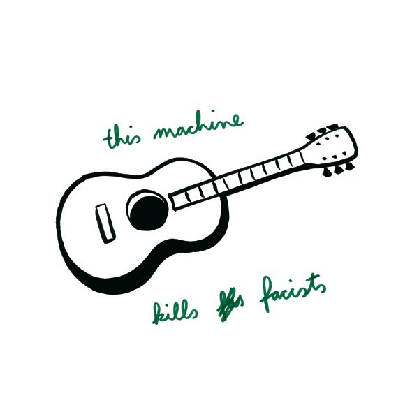 illustration illustrations illustrator illustrators music this machine kills fascists guitar guitars type cursive script