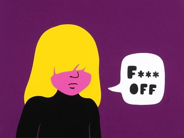 illustration illustrations illustrator illustrators fuck off girl girls bangs blonde bold speech bubble