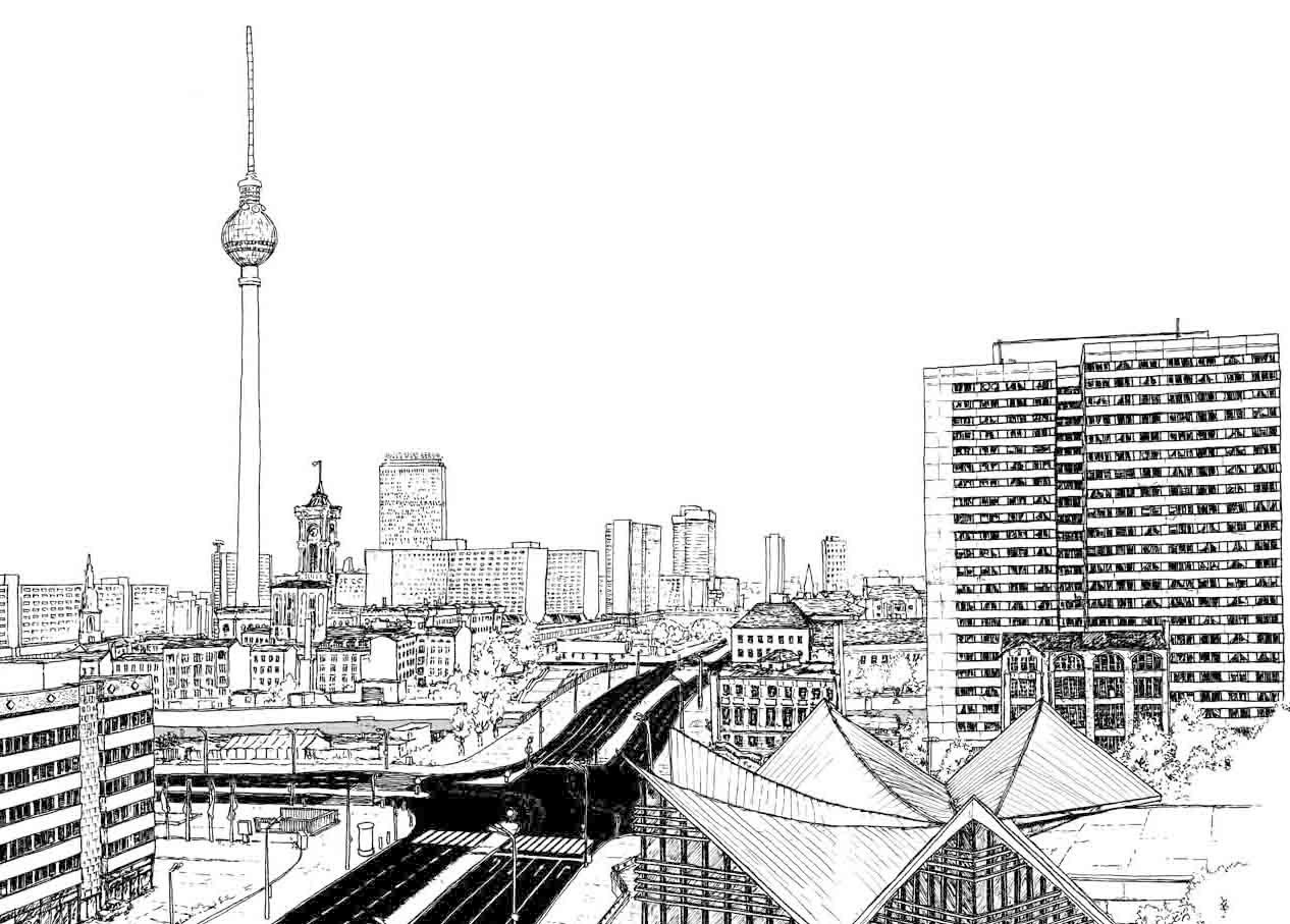 "Ink ""Hand drawing"" realistic ""black and white"" detailed Berlin TV Tower architecture"