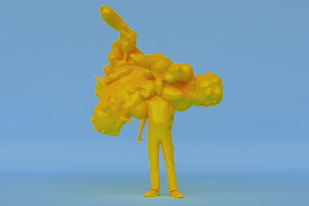 man blob melt melting 3D character Man standing