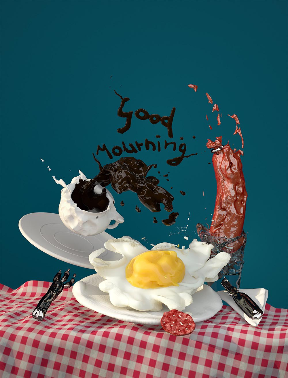 breakfast egg coffee table sausage fork knife table mouvement