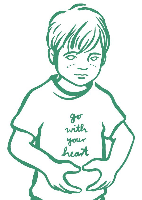 illustration illustrations illustrator illustrators go with your heart turquoise green blue shirt message boy child youth sketch boys