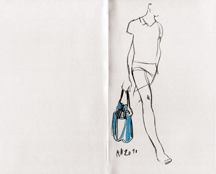 man fashion outfit bag blue shorts