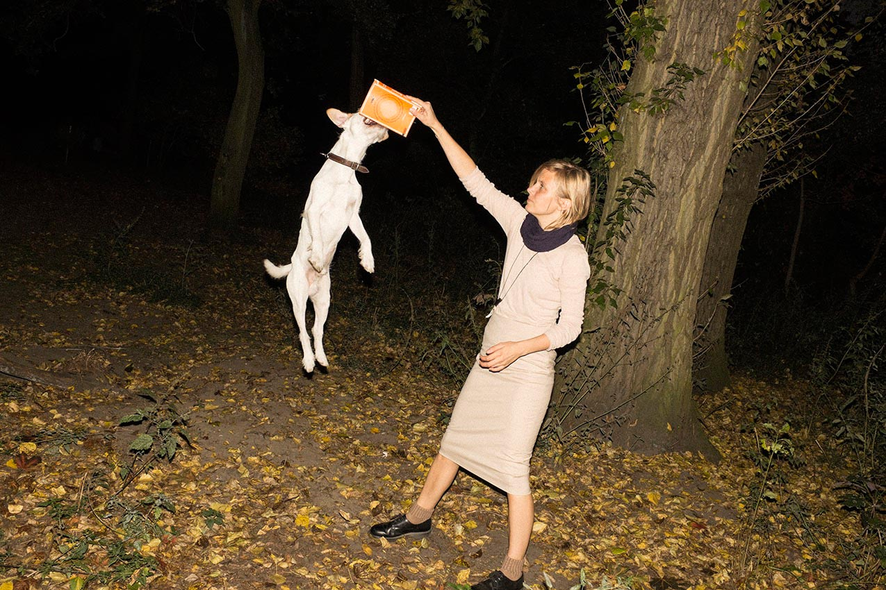 people woman women dog dogs outdoor outdoors night nights jump animal tree park night leaves fall autumn