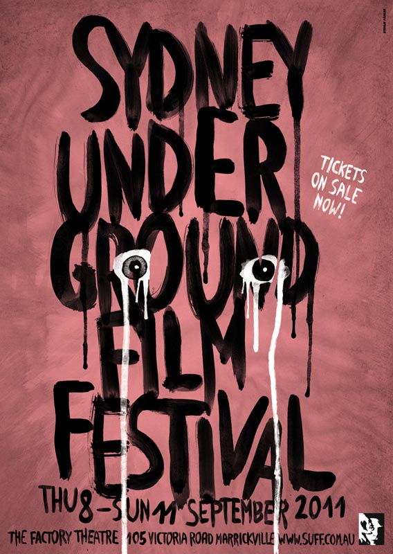 Sydney underground film festival leak leaking eyes psychedelic punk watercolor digitally colored typography flyer poster