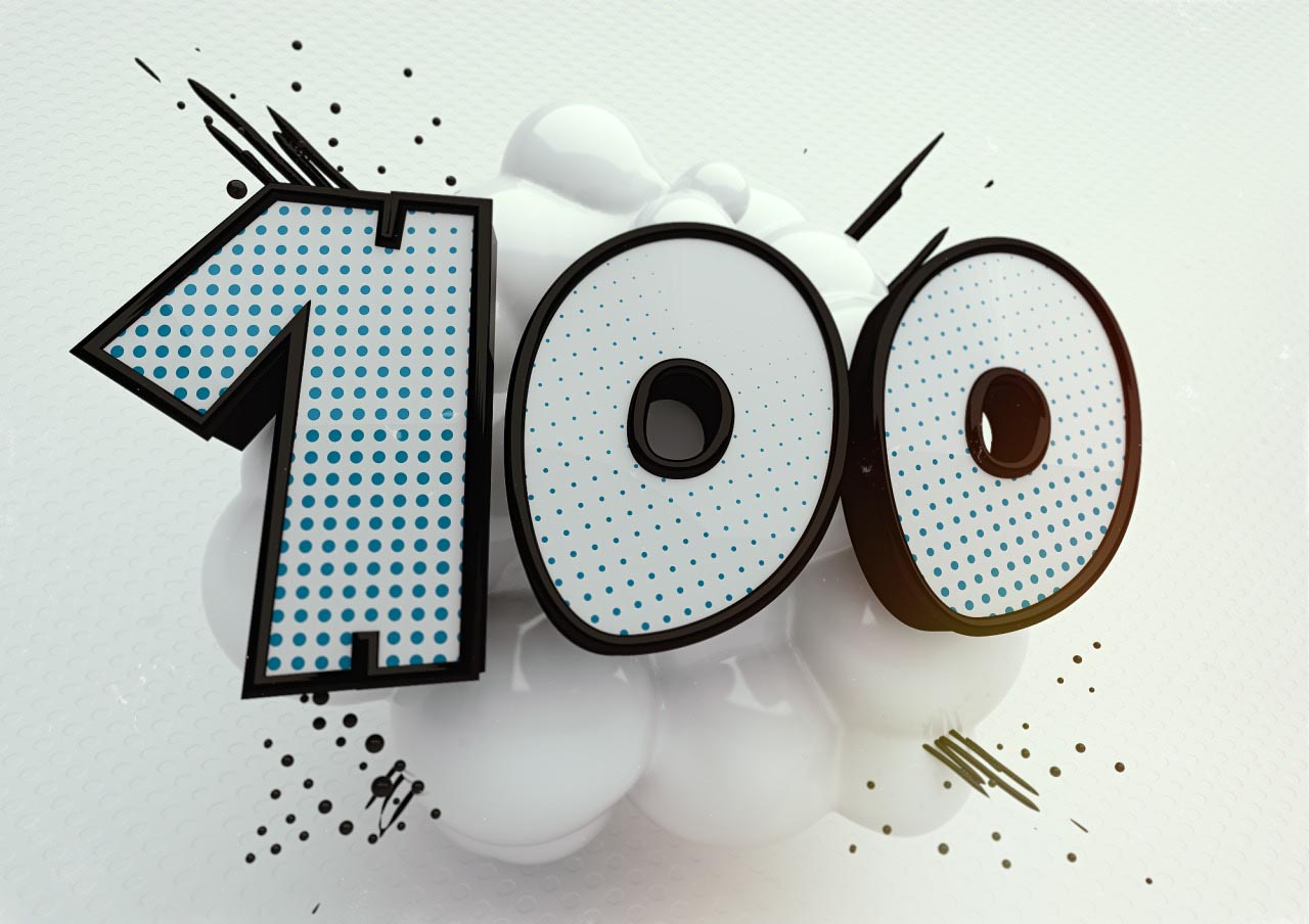 Onomatopoeia 100 numbers comic cartoon typo typography font slang 3D explosion