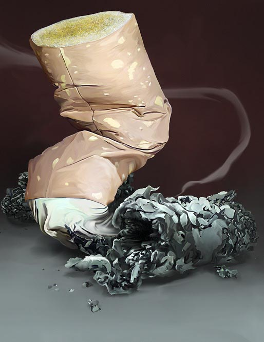 illustration illustrator Digital Painting Hand Drawing Realistic cigarette butt smoke object product
