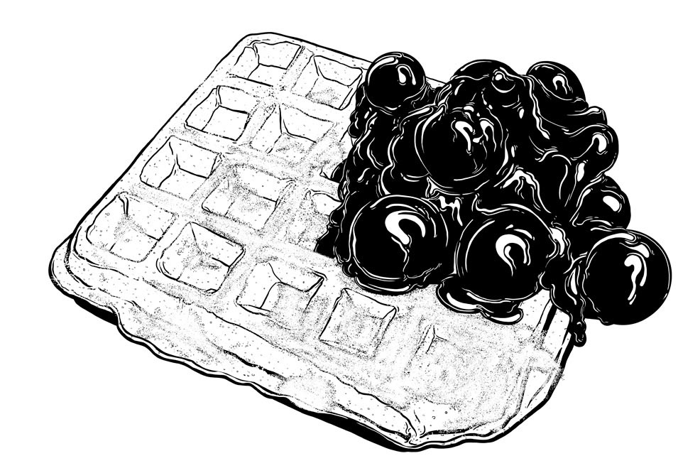 illustration illustrator vector food realistic Black and White waffle jam