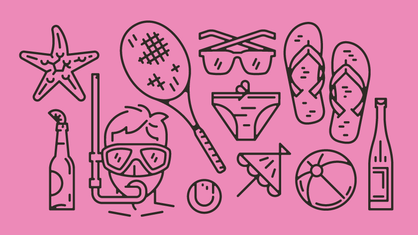 vector minimal lines outlines object objects starfish beer bottle diver snore snorkel tennis umbrella glasses ball