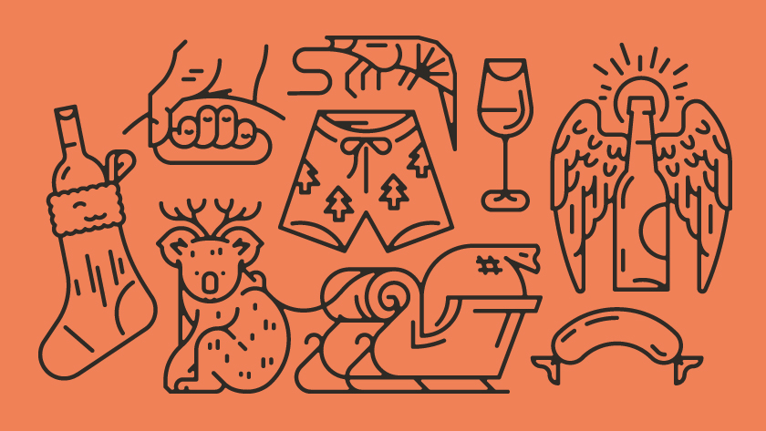 vector minimal lines outlines object objects koala santa shorts shrimps sausage glass glassware bottle