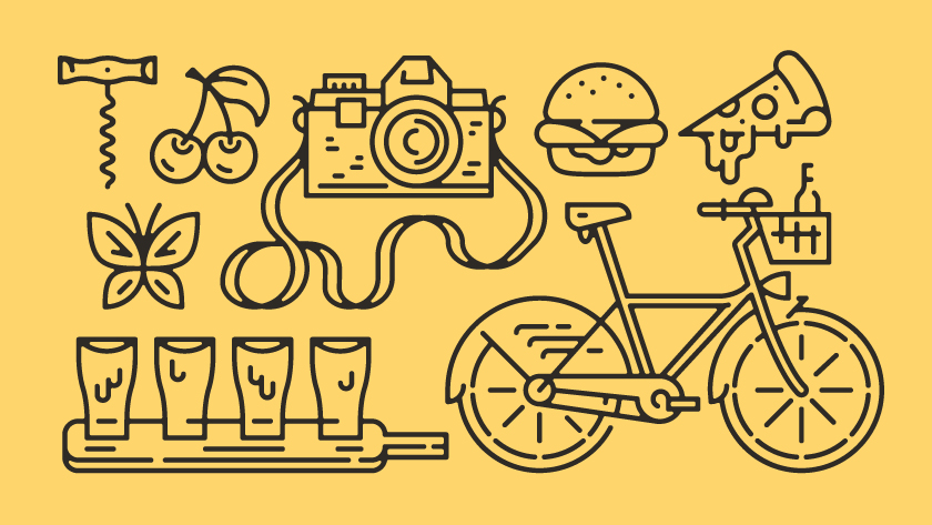 vector minimal lines outlines object objects corkscrew cherry butterfly camera glas s glassware bike pizza hamburger burgers