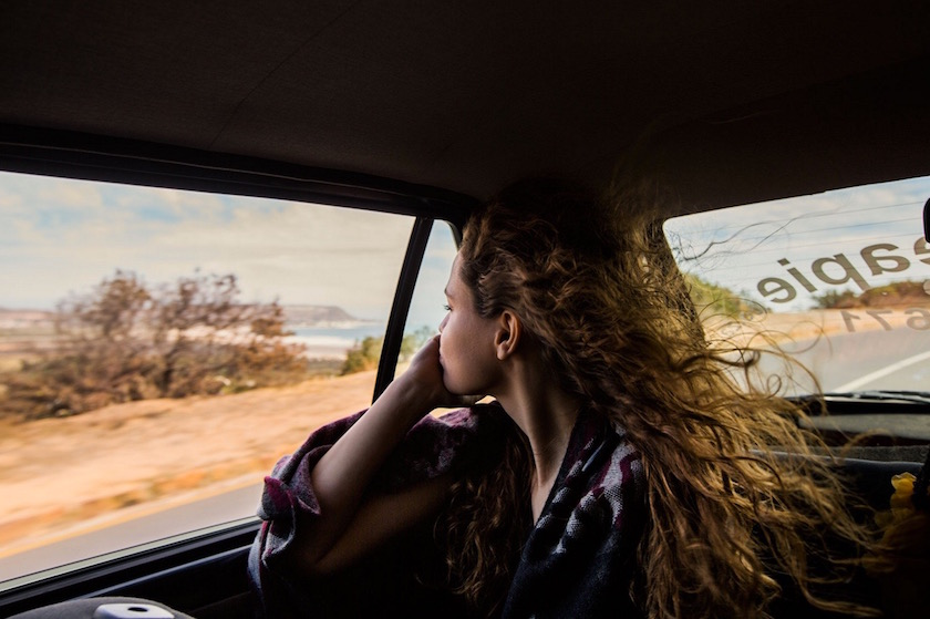 girl car curly wind summer vacations holidays