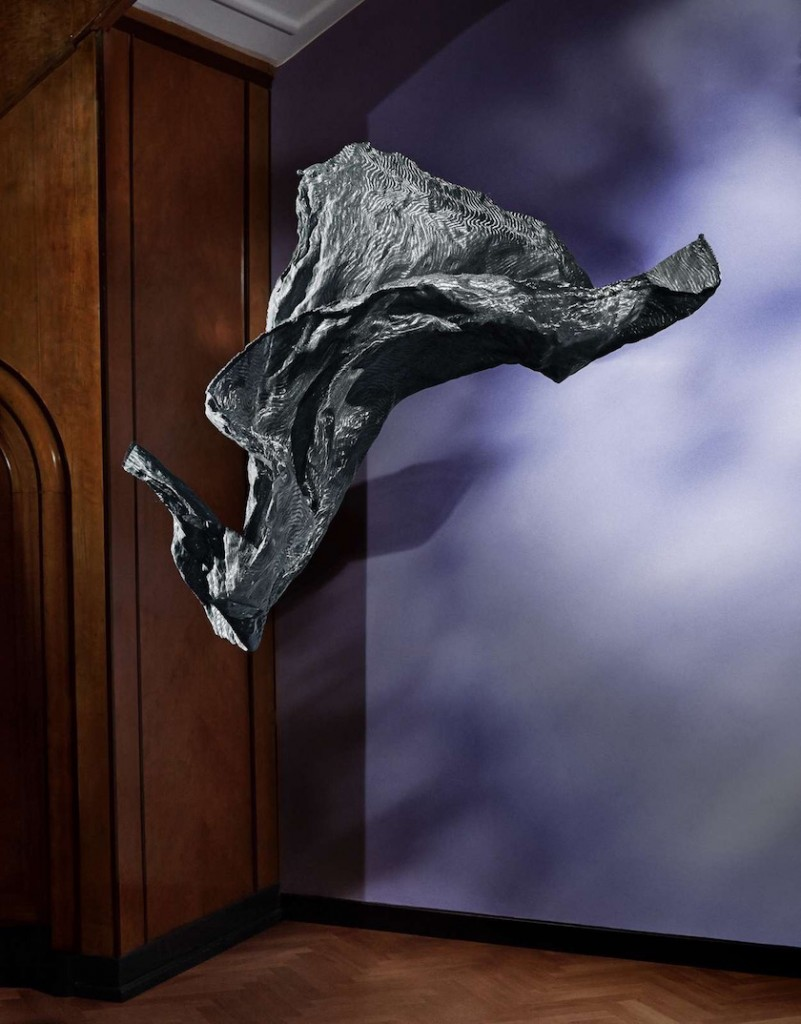 cloth scarf fly flying wind space room shadow light purple grey