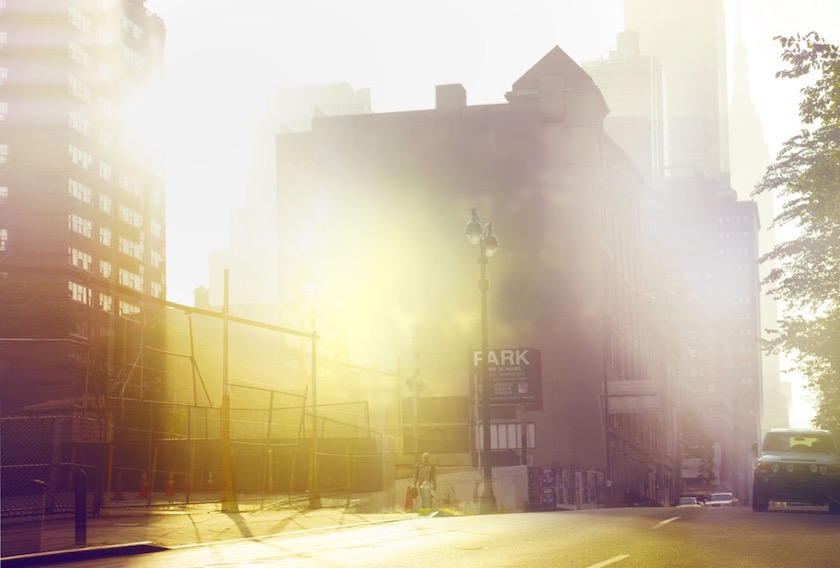 city street urban empty sun sunny light bright cloud fog steam blurry