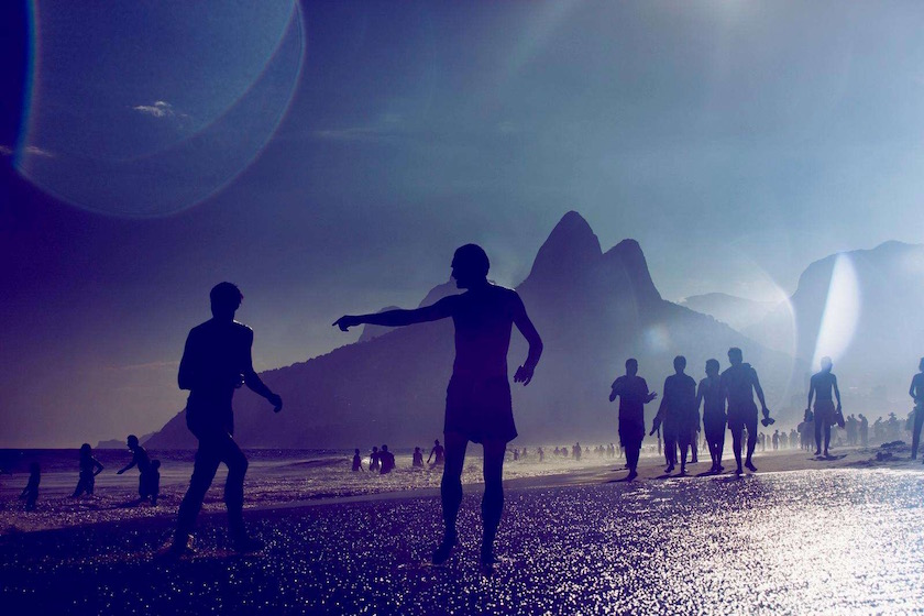 man beach play sun sunny warm summer holidays vacations wave waves sea ocean brazil silhouette blue
