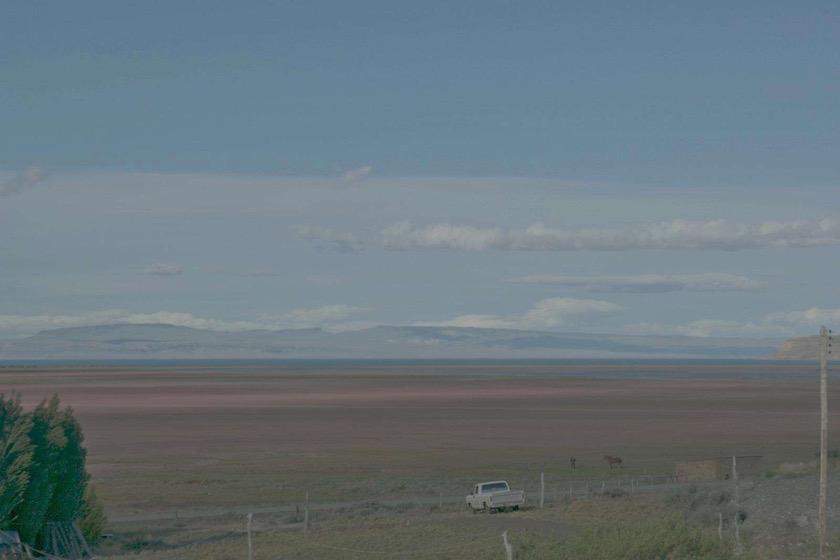 pickup horse field sky