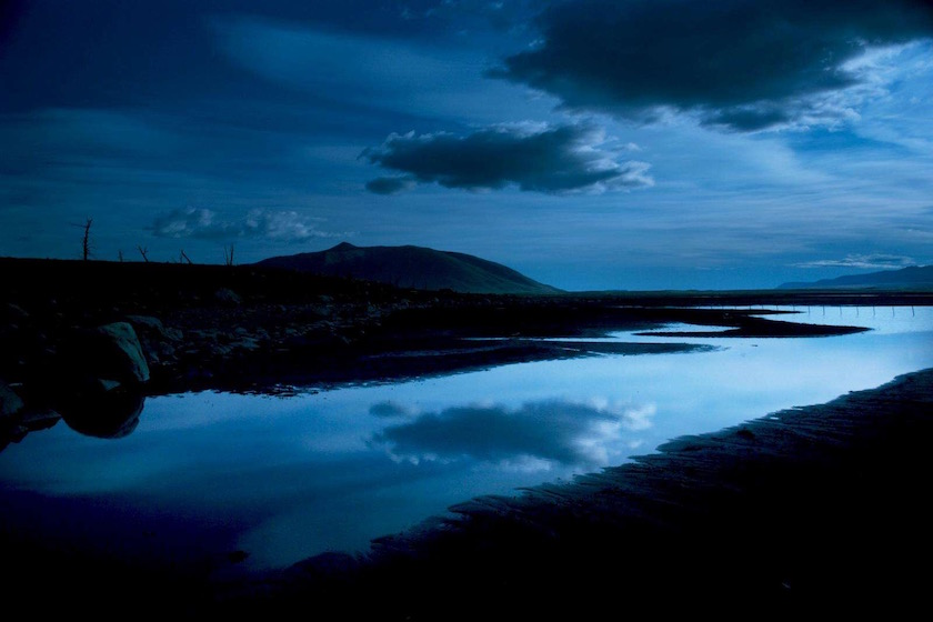blue sky reflection clouds water lake sea blue empty silent river
