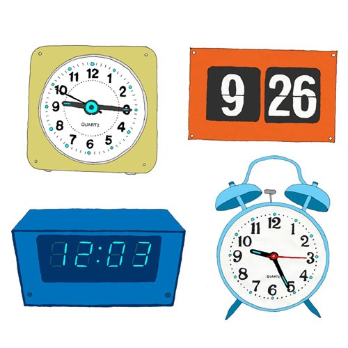 hand drawing vector humorous object products Still Life alarm clock clock