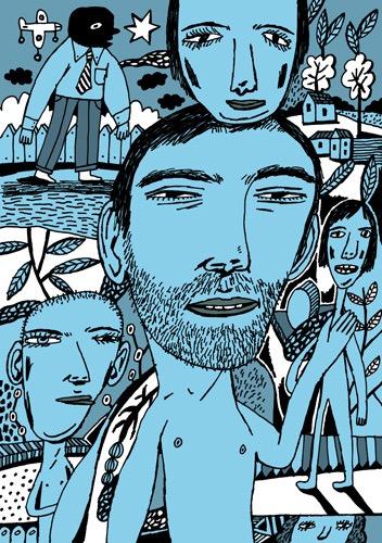 Imaginary Landscapes hand drawing vector figurative humorous man people dream cat woman men