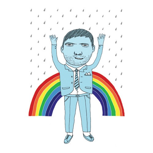 hand drawing vector figurative beard portrait humorous man rainbow rain suit tie happy emotions emotion people