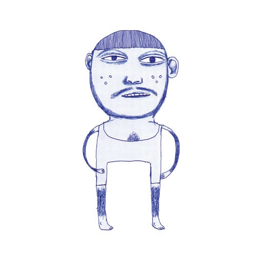 hand drawing vector figurative beard portrait humorous man sports leisure sport wrestling