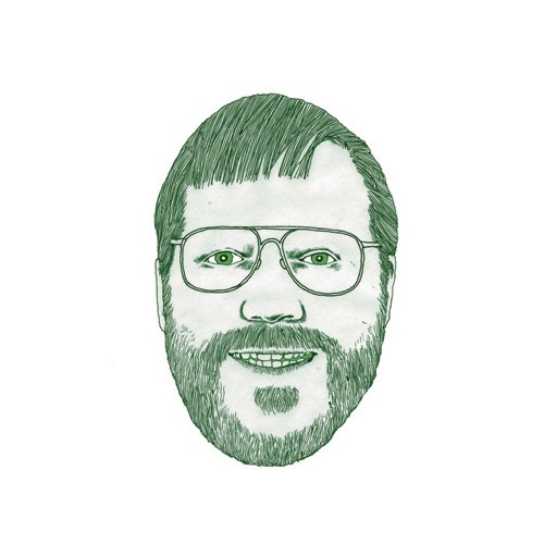 hand drawing vector figurative glasses green beard portrait head smile humorous man