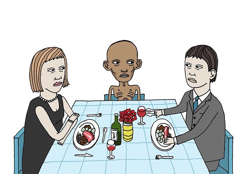 hand drawing vector figurative humorous emotion people dinner food eat eating somali skinny guilty conscience restaurant